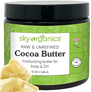 Cocoa Butter by Sky Organics (16 oz) Pure Unrefined Raw Cocoa Butter for Body, Hair and DIY Raw Cocoa Body Butter Natural ...