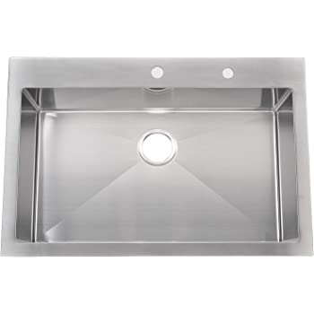 "KINGO HOME Commercial 33""x 22"" Inch 10 Inch Extra Deep Handmade Top Mount T304 Stainless Steel Drop-In Single Bowl Kitchen Sink"