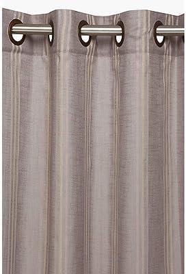 ARiANA Stripe Linen Sheer Single Pc. Window 5 feet Curtain (Grey, Window - 5 ft)