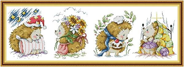 DIY Counted Cross Stitch Kits for Beginners-Happy Little Hedgehog DA330 (6222CM),Printed Embroidery Kit for Home Kitchen Wall Decor