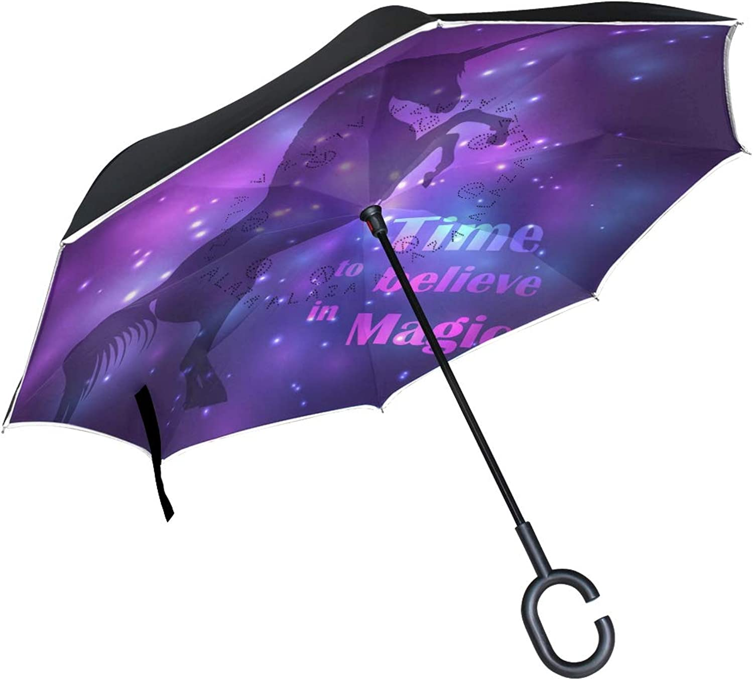 Ingreened Umbrella Double Layer Reverse Umbrella Waterproof Windproof UV Predection Straight Umbrella with CShaped Handle colorful Unicorn Lights Digital Printing for Car Rain Outdoor Use