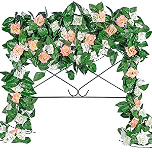 Der Rose 5 Pack 41ft Artificial Rose Garland Fake Flower Vine Hanging Silk Plants for Wedding Arch Backdrop Table Party Wall Decoration (White& Pink)