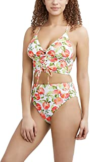 BCBGeneration womens Midkini Swimsuit Top With Lace Up Front and Adjustable Straps Bikini Top