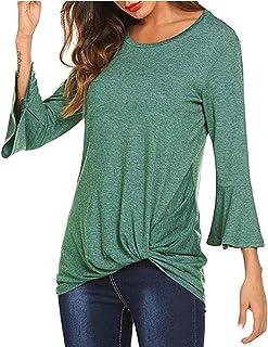 Verano para Mujer Casual Tops De Color Sólido Cuello Redondo Delgado Camiseta De Manga Larga Tops