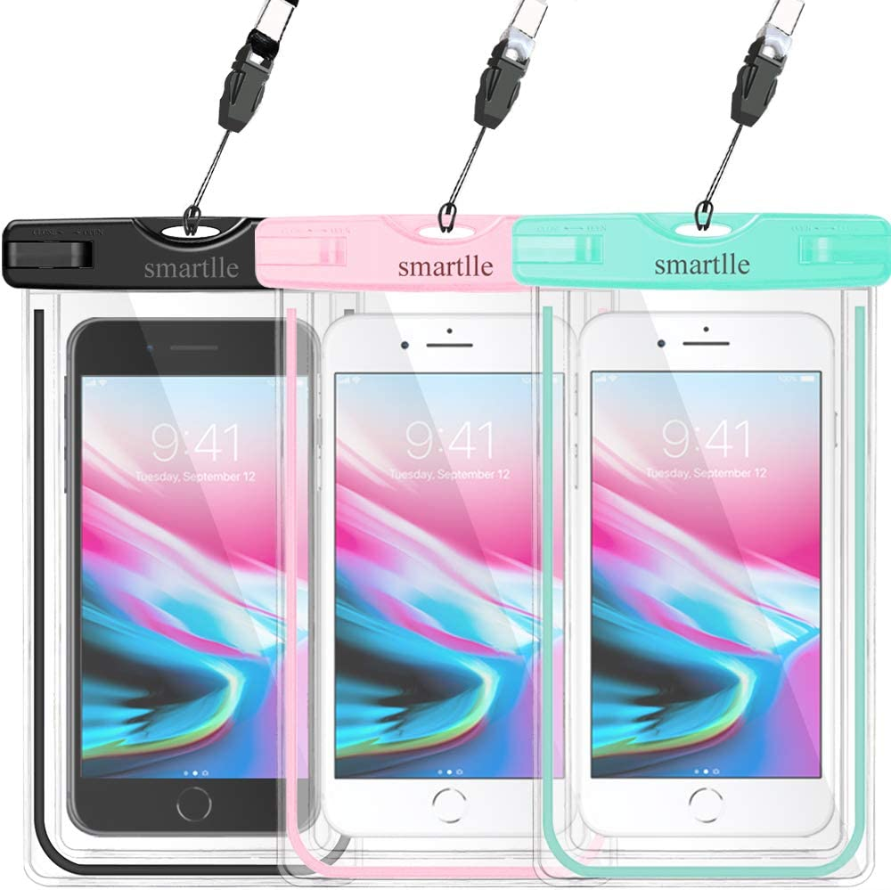 smartlle Waterproof Phone Pouch, Universal Waterproof Phone Case, Dry Bag Snowproof Outdoor for iPhone Xs Max/Xr/Xs/X/8/8 Plus/7/7Plus/6/6s Plus, Samsung Galaxy S10 S9+, Note, Moto,Luminous-3 Pack