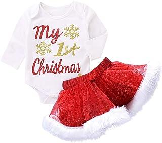 FIRSS-Mädchen Baby Kleidung Set My First Christmas Mädchen Weihnachten Kleid Kleinkinder Strampler Prinzessin Tütü Rock 2pcs Spielanzug Weihnachtskostüm Fotoshooting Bekleidungsset