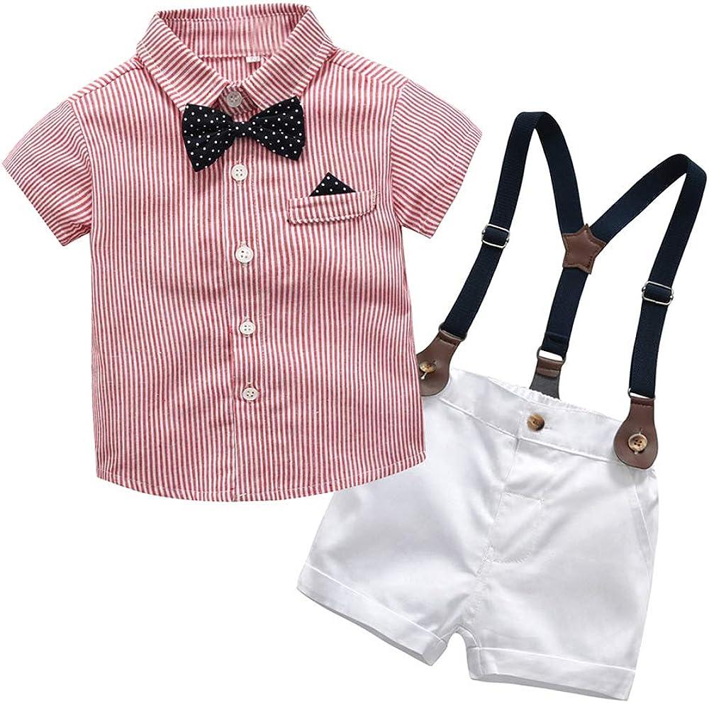 Joycebaby Toddler Boys Pink Stripe Shirt+Suspenders Pants Clothing Set Outfit