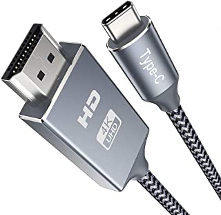 USB C HDMI 変換 ケーブル 2.8m USB3.1/Thunderbolt3対応 Type C HDMI ケーブル 4K 2K 1080P ハイスピード伝送 ナイロン編み グレー