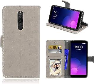 För Meizu M6T/Meiblue 6T/Meilan 6T fodral, matt PU-läder skydd 3 kortplatser plånbok flip fodral fodral fodral vit