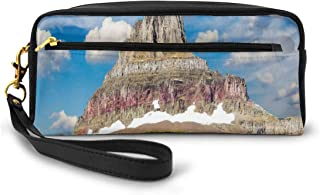 Pencil Case Pen Bag Pouch Stationary,Rugged Colorful Peak And Cloudy Amazing Sky Nature Scene From Montana,Small Makeup Bag Coin Purse