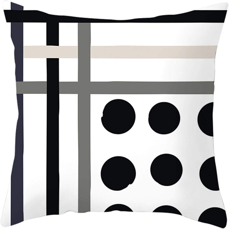 KnBoB Funda Almohada Poliéster Rayas Circulares Sólidas 45 x 45 cm Blanco Negro Gris Estilo 15