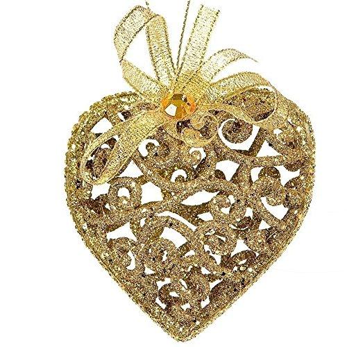 SSITG 6 x briljant goud kerst hart kerstboomballen boomversiering kerstdecoratie