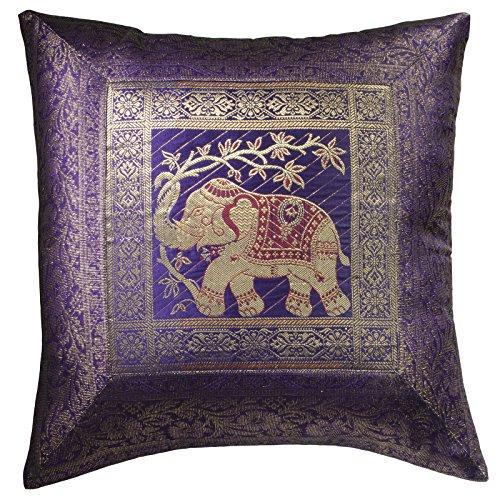 Comercio Justo Indian Brocado Trabajo Elefante algodón cojín Cover 100% algodón, Morado, 45 x 45cm