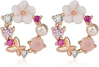 HENGSONG Earrings Studs Womens Sterling Silver Earring Set Valentine's Day Gift Earrings for Women 1 Pair Tree