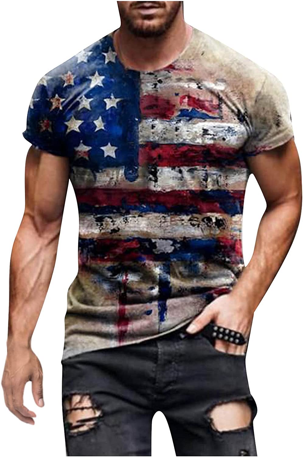 Mens 4th of July Short Sleeve Shirts American Flag Independence Day Shirts Retro Tops Polyester T Shirts