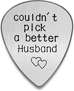 Personalized Guitar pick I couldn't pick a better man Custom Plectrum Engraved Guitar Pick Gift for Music lover Stainless Steel Custom Tag (Husband, Silver)