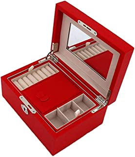 Girls Jewelry Box Double Layer Jewelry Box for Women Storage Box Leather Jewelry Box Organizer 3 Colors S10/23 (Color : RED)