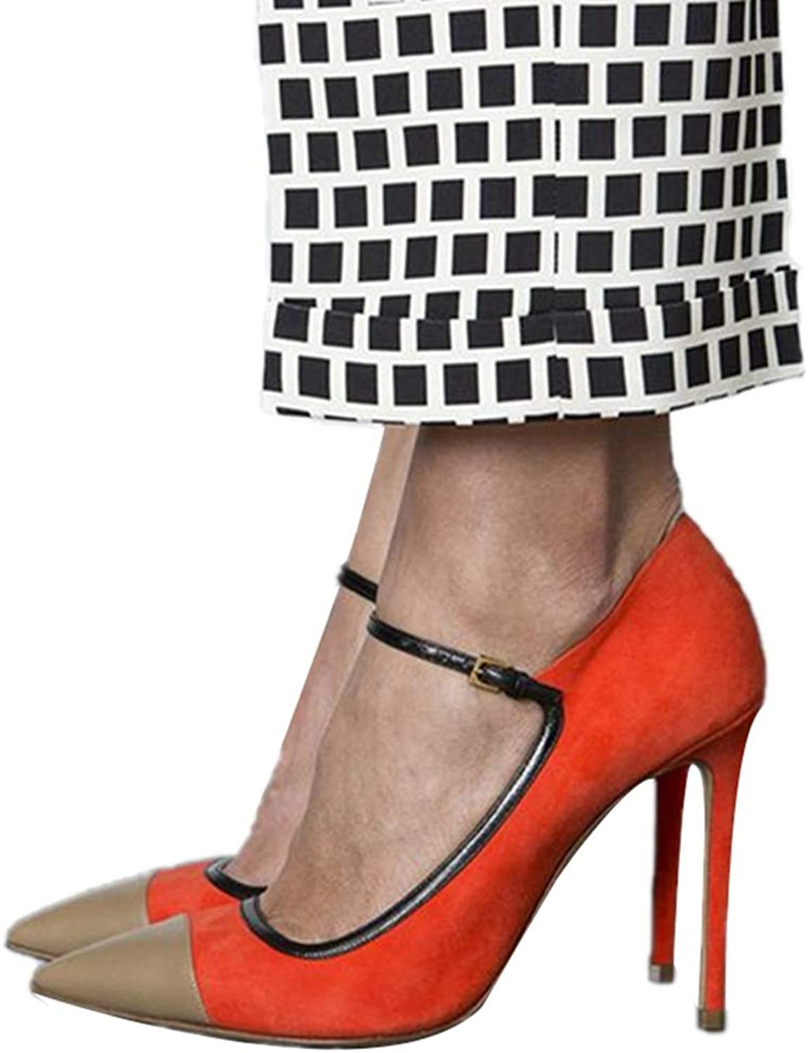 Women Buckle Sandal High Heel Contrast color Pointed Stiletto Spring Summer Lady Heeled Sandals