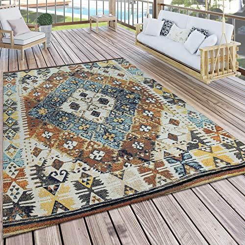 Paco Home In- & Outdoor-Teppich Für Balkon U. Terrasse M. Orient-Design, Kariert In Bunt, Grösse:120x170 cm