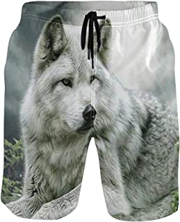 Moonlight Wolf Men's Swim Trunks Fit Quick Dry Beach Board Shorts Bathing Suit with Drawstring Pocket