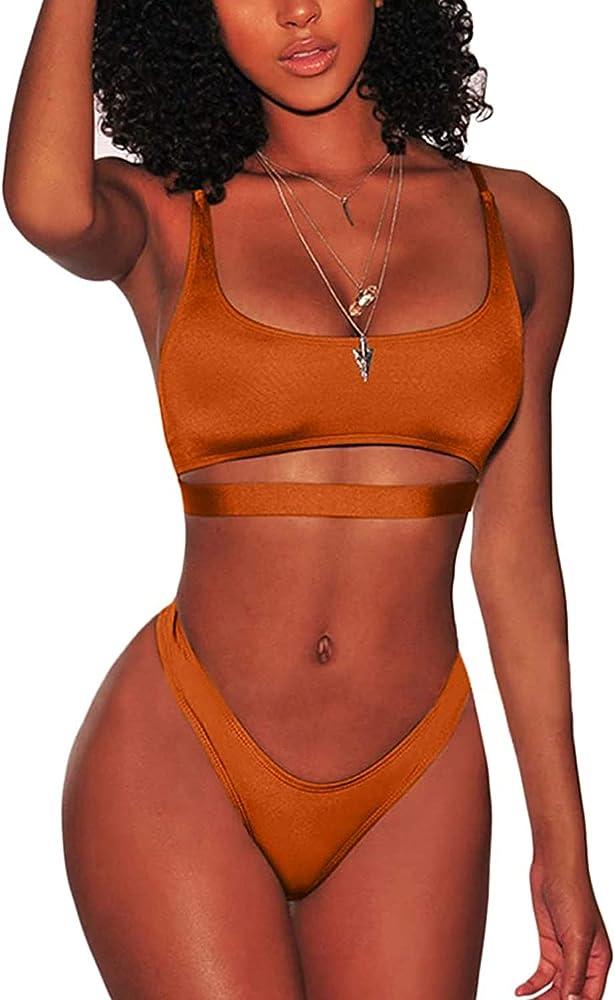 Jfan, costume da bagno da donna, due pezzi, in nylon elasticizzato, arancione
