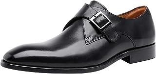 Santimon Chaussures Homme Cuir Monk Strap Slip on Habillées Business Loafer Mode Chaussure à Boucle de Ville Noir Marron