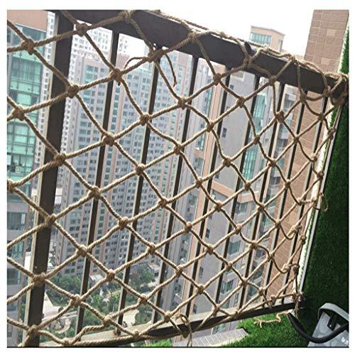 Red de cuerda de cáñamo, red de barrera para balcón, red decorativa para escaleras, red de seguridad para escalada para niños, varios tamaños, material de yute resistente a la abrasión, 12 mm / 10 cm