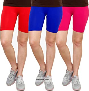 Pixie Biowashed 220 GSM Cotton Lycra Cycling Shorts for Girls/Women/Ladies Combo (Pack of 3) Red, Blue and Pink - Free Size