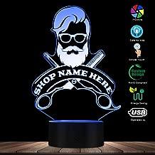 WANQINGW Peluquería Peluquería Corte de pelo Negocio Barba Salón Hombre Hombre Lámpara de noche LED Barbería personalizada Nombre Acrílico LED Luz de borde Logotipo