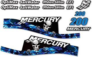 AMR Racing Outboard Engine Graphics Kit Sticker Decal Compatible with Mercury 200 - EFI Skull