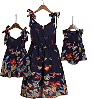 Mommy and Me Floral Printed Dresses Shoulder Straps Bowknot Chiffon Sleeveless Beach Mini Sundress