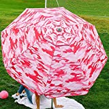 Beach and Grass Umbrella with Matching Travel Carrying Bag - Large 7 Feet 5 Inches Tilting Telescopic Aluminum Pole - Twist Sand/Grass Anchor - Wind Air Vent - Fiberglass Ribs (Camouflage Pink)