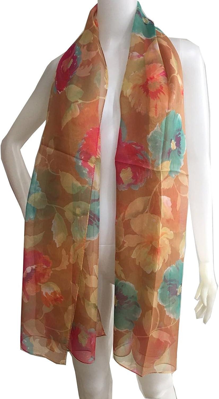 SS10188076 Flora, Silk Long Scarf, Designed Stole of Silk Shiffon, Gift Cased (orange)
