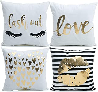 YNester 4Pcs D�cor Throw Pillow Cover Super Soft Gold Foil Decorative Cushion Cover 18 x 18 inches Eyelashes Lips Love Printed Pillow Case for Sofa Chair Car Bed (White)