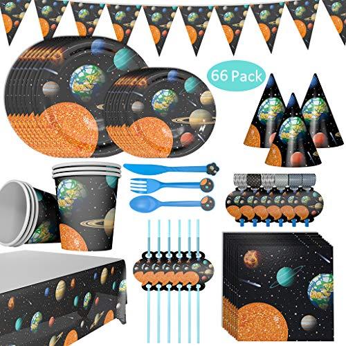 Baipin 66-teiliges Weltraum * Party Set - Teller, Becher, Servietten, Tischdecke, ect // Kindergeburtstag Set Partygeschirr Deko für 6 Kinder, Space Mottoparty Partyzubehör