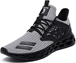 8HAOWENJU Men's Sports Running Shoes Mesh Breathable Cross-Country Running Shoes Fashion Sports Shoes,Black, Gray, Red