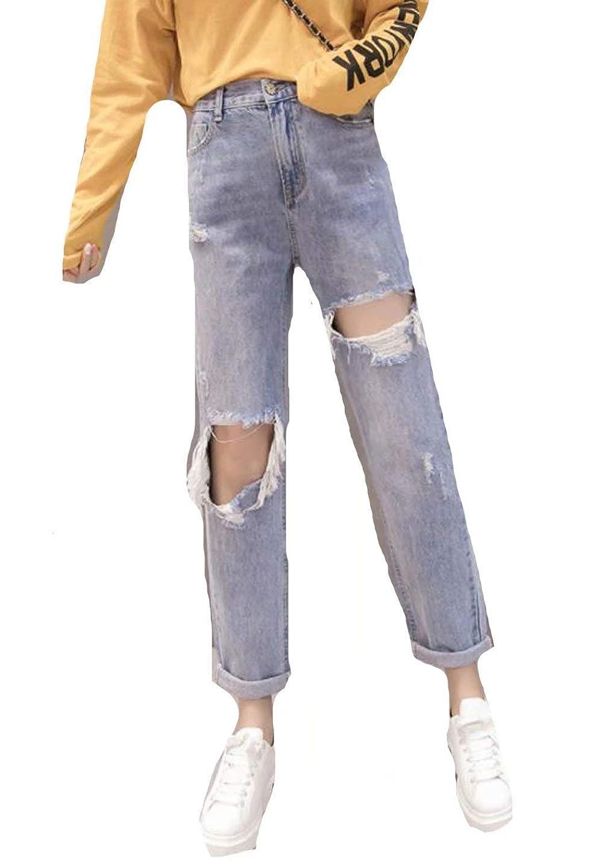 PASA レディース デニムパンツ ダメージ加工 ジーンズ クラッシュパンツ ゆったり ロング パンツ 九分丈 ファッション
