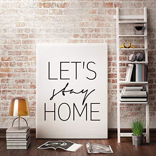 hllhpc Let & # 39; s Stay Home muurschildering minimalistisch beeld in wit en zwart, Engelse geluiden, schilderijen zonder lijst 60x80cm 4 X 100 M