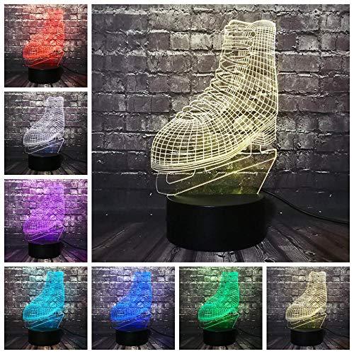 EUpMB 3D Illusion Lampe,LED Nachtlicht,7 Farben Touch Changing dekorative Schreibtischlampe,USB-Ladegerät,als DekoWohnzimmer Schlafzimmer,und SchönGeburtstag Geschenke.-Ice Blade Hockey Nachtlicht