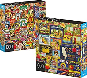 2-Pack of 1000-Piece Jigsaw Puzzles, for Adults, Families, and Kids Ages 8 and up, Retro Comics and Fruit Labels from Spin Master