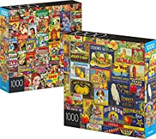 2-Pack of 1000-Piece Jigsaw Puzzles, for Adults, Families, and Kids Ages 8 and up, Retro Comics and Fruit Labels