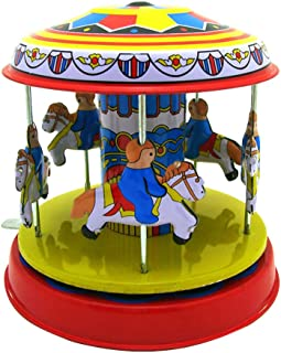 Binory Photography/Window Display Props Iron Merry-Go-Round,Tinplate Nostalgic Clockwork Chain Toy for Personality Birthday Children's Day Gift for Kids,Clockwork Style Decoration Collection