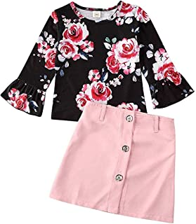 Kids Toddler Girls Floral Button Down Skirt Outfit Flare Sleeve Tops Shirt+ Pink A-line Pencil Skirt Fall Clothes Set (Floral Pink, 2-3 Years)