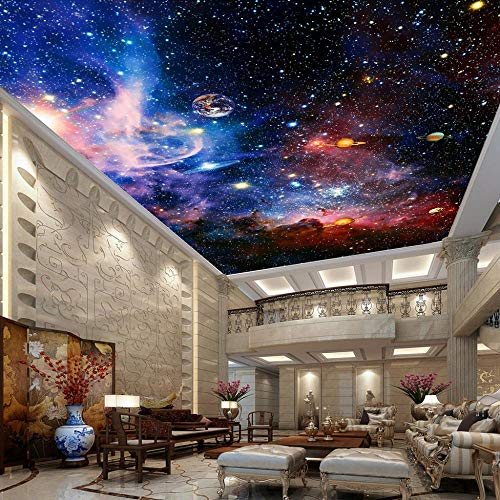 VGFGI Photo Wallpaper Universe Starry Sky Living Room Ceiling Mural European Style Home Decoration Wall Art Ceiling Wallpaper 3D-480cm(W) x290cm(H)