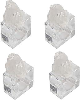 "AMOYSTONE Clear Quartz Cluster Linen Napkin Rings Set of 4 Holder Weddings Partie Table Décor Irregular 2.5"" Square Base"