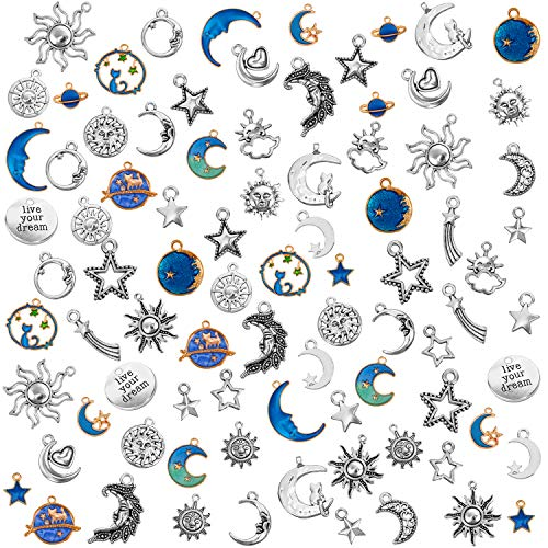 108 Pieces Jewelry Charms, Mixed Antique Silver Sun Stars Moon Charms Pendants, Assorted Gold Plated Enamel Cat Moon Star Celestial Charm Pendant for Earrings Necklace Bracelet Jewelry Making Crafting