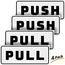 """Push Pull Door Horizontal Stickers Sign – 2 Pack 5""""x2"""" in, Back Self-Adhesive White & Black Vinyl Sticker for Business, Stores, Cafes, Shops & More. Indoor and Outdoor use."""