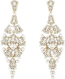 Austrian Crystal Simulated Pearl Wedding Chandelier Dangle Earrings Clear