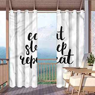 """ParadiseDecor Funny Outdoor Noise Reducing Curtains Solid Cabana Grommet Curtain Eat Sleep Repeat Quote Art 104"""" W x 63"""" L"""
