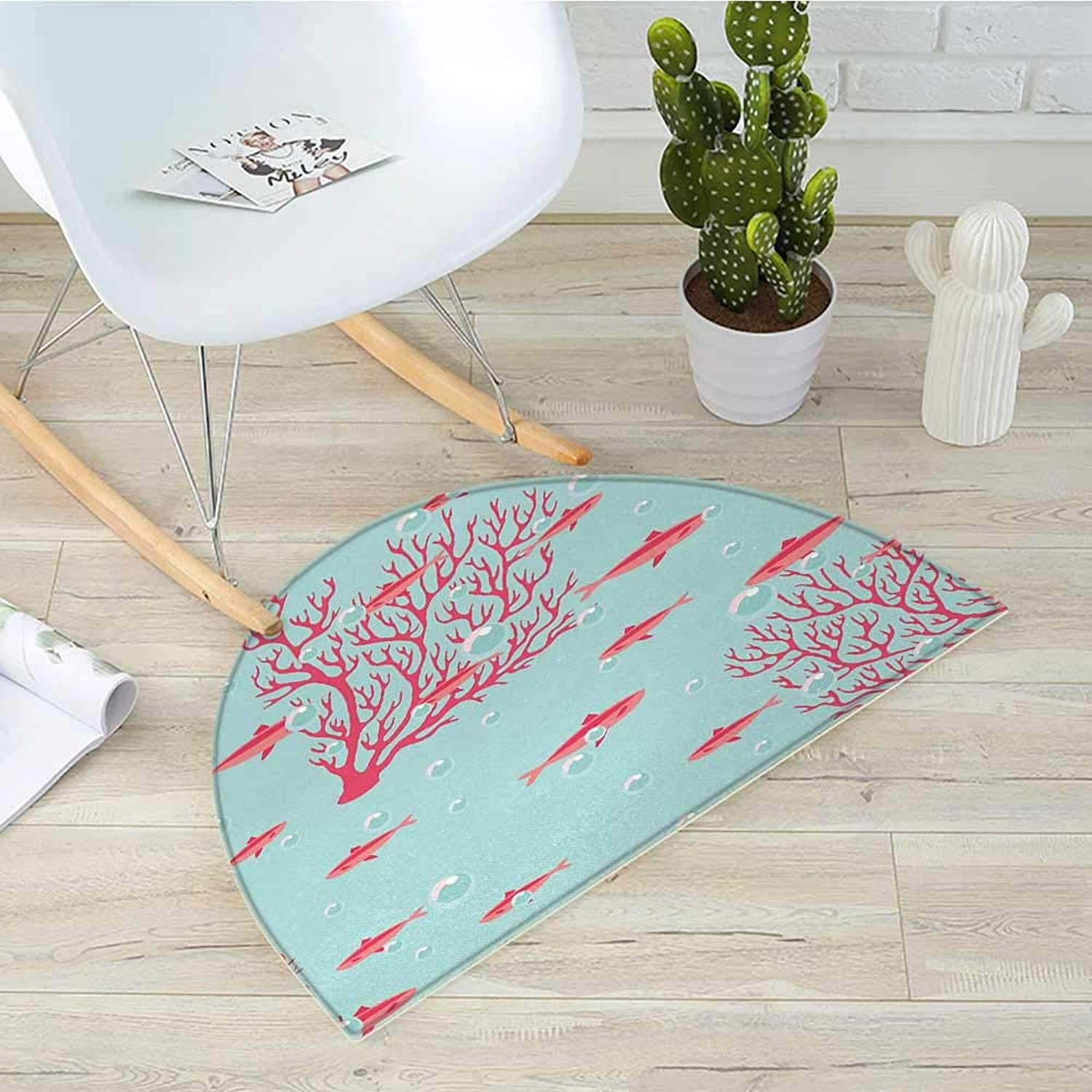 Coral Semicircle Doormat Aquatic Pattern with Little Cute Fishes and Coral Reef Bubbles Water Halfmoon doormats H 23.6  xD 35.4  Coral Dark Coral Baby bluee